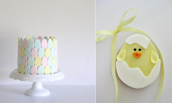 easter cake by Janet O'Sullivan Cake Design left, easter chick cookie by Rosy Cakes NZ right