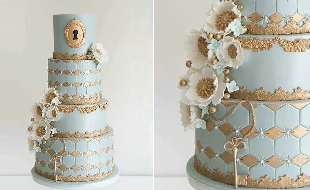 lock and key wedding cake by Coco Cakes Australia