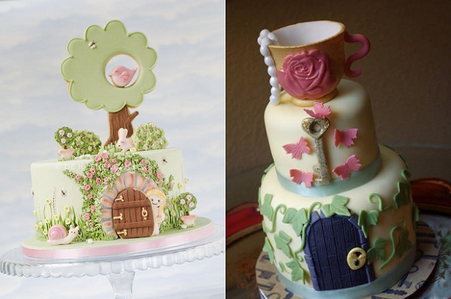 secret garden cakes by De Koeken Bakkers left and All The Kings Horses Cake Creations right