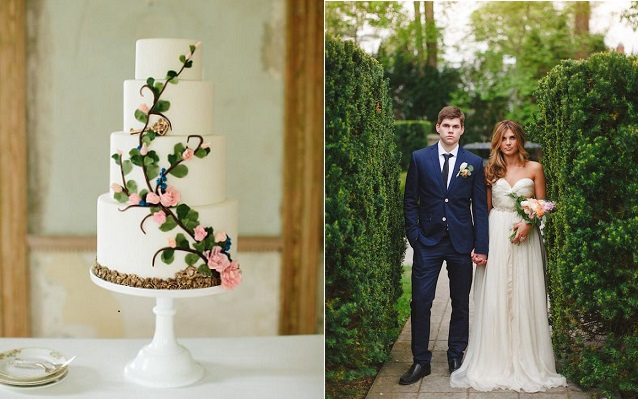 secret garden wedding cake image by Abbey Grace Photography via Style Me Pretty, image right by Firm Anchor via 100LayerCake