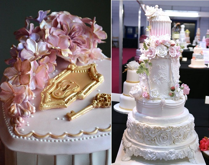secret garden wedding cakes by Sugar Realm left and Samantha's Cake Design Jersey, right