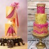 Indian fashion inspired cakes by Jeanne Winslow left and Isabelle Payne of Izzy's Cakes, right