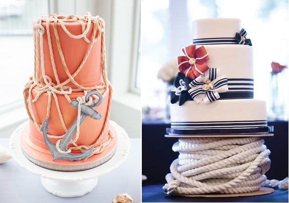 anchor wedding cake nautical theme by Madison Lee's Cakes, Cyrience Photography via Every Last Detail left, image right via Colin Cowie Weddings