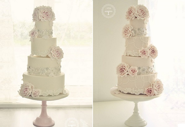 antique lace edging wedding cakes by Cotton & Crumbs