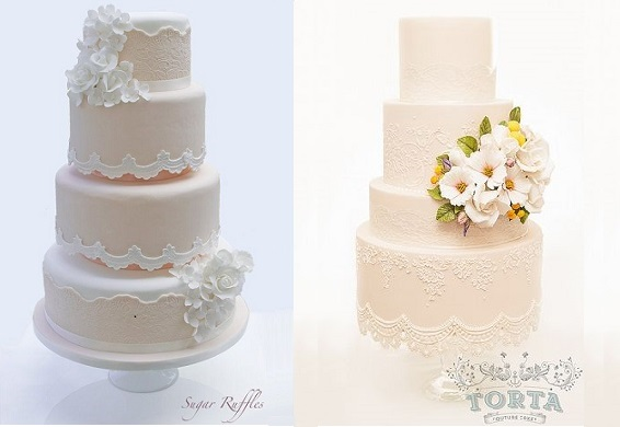 antique lace edging wedding cakes by Sugar Ruffles left and Torta Couture Cakes right