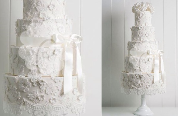 antique lace wedding cake by Poppy Pickering