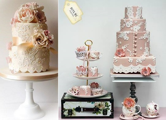 antique lace wedding cakes by Samantha's Cake Design, Jersey left, Bite Me Bakery UK right