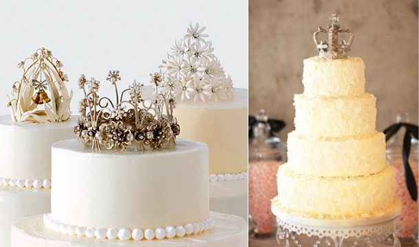 Silver Crown Cake Topper