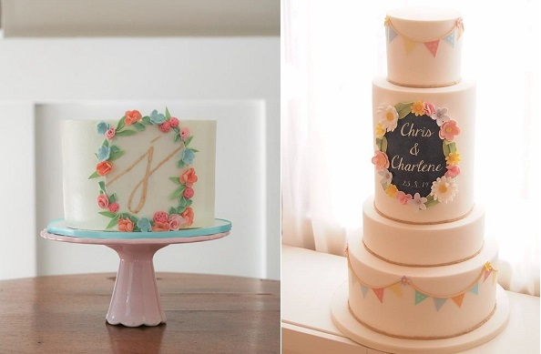 floral frame cakes by Erica O'Brien Cake Design left, Lesley Bakes Cakes right