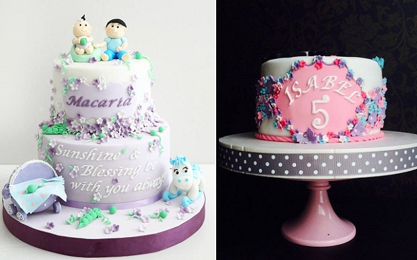 floral frame cakes for children by Couture Bakery Hong Kong left, Nuriss Cupcakes right