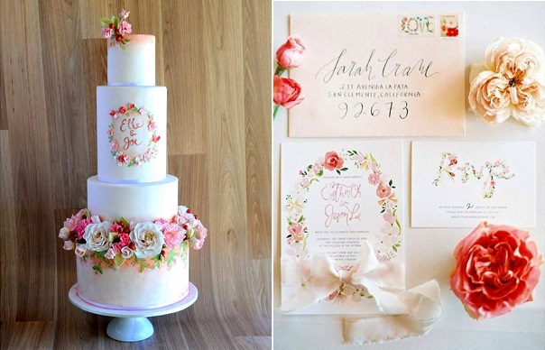 floral frame mongoram wedding cake by Sweet Ruby Artisan Cakes and complimentary stationary