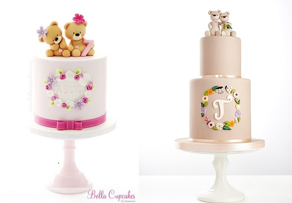 floral frame monogram cakes by Bella Cupcakes left, Little Cherry Cake Company right