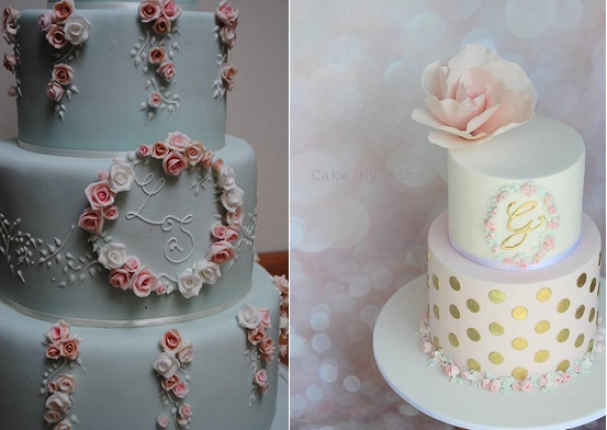 floral framed monogram cakes by Bath Baby Cakes left, Cake by Kim right
