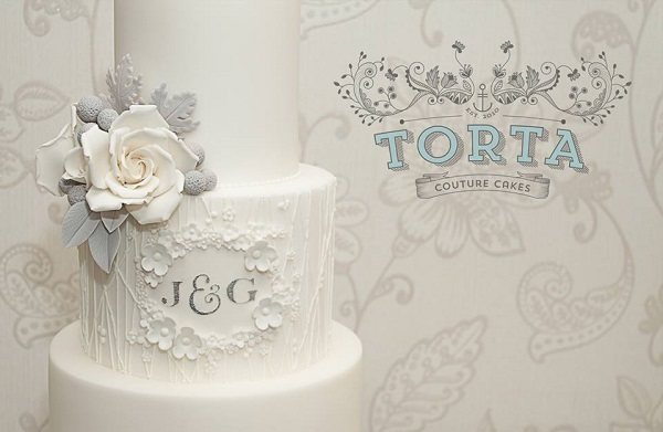 floral framed monogram wedding cake lace wedding cake grey and white cake by Torta Couture Cakes