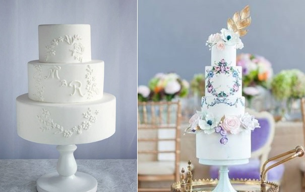 floral framed monogram wedding cakes by Petite Cerise left, Nadia & Co right