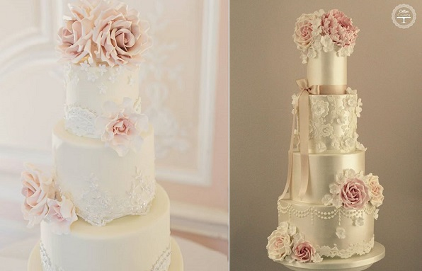 lace trim wedding cakes with lace edging by Rachelle's left, Cotton & Crumbs right