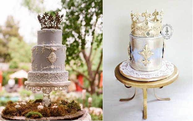 medieval crown cake toppers,Cake Coquette, photography by  Elizabeth Messina left, Firefly India right
