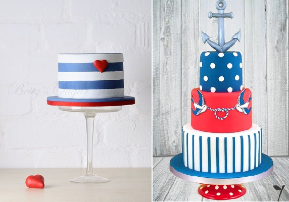 nautical cake designs by Betty's Sugar Dreams left, Black Cherry Cake Company right