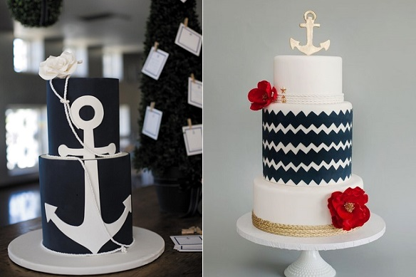 navy and white nautical wedding cakes by Cake Occasions via Brides.com left, City View Bakehouse right