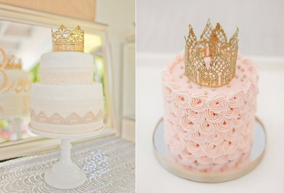 princess crown cake toppers via 100 Layer Cake left, Sweet & Saucy right