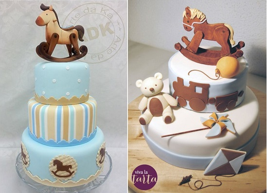 rocking horse cakes by Arte da Ka left and by Viva La Tarta right