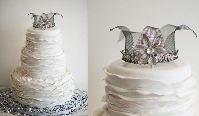 silver crown cake topper, ice queen wedding cake, Looking Glass Photography via Style Me Pretty