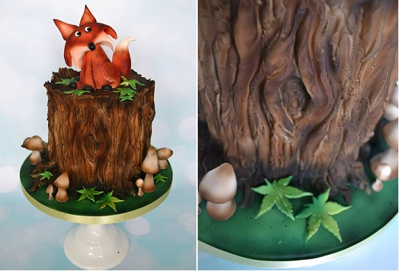 tree bark cake woodgrain effect by Laura Dodimead at Squires
