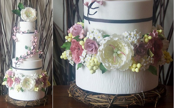 English garden wedding cake by Baked In, Caked Out