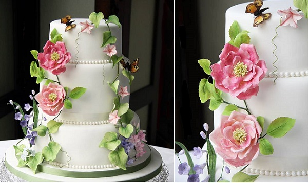 English garden wedding cake