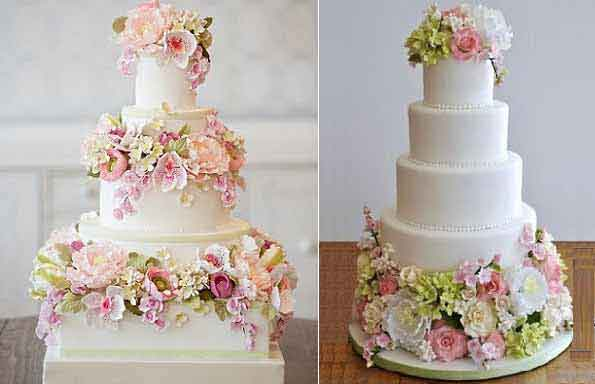 English garden wedding cakes by Bobbette & Belle, left and via Pinterest right