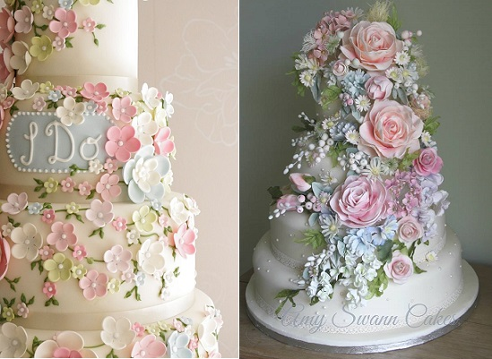 Tier Wedding Cakes Pastel Tumbling Flowers