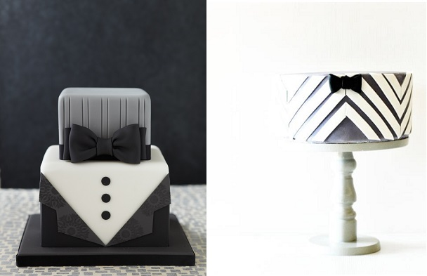 Father's Day cakes bow tie cakes via Taarten Decoreren left and by Minnie's Sweet Creations right