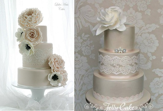 Lace sash wedding cake by Leslea Matsis left, Jelly Cake right
