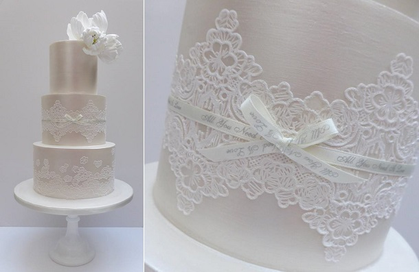 Lace sash wedding cake by Scrumdiddly UK