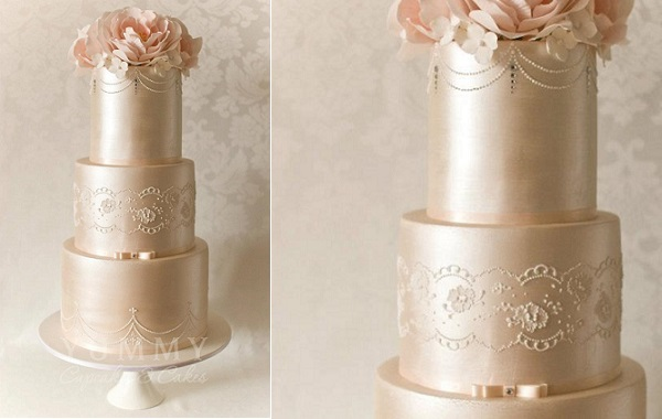 Lace sash wedding cake by Yummy Cakes & Cupcakes