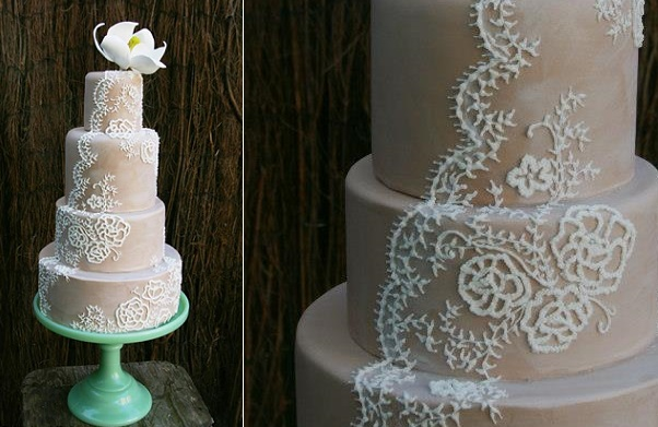 Lace veil wedding cake by Nadya's Cakes & Bakes UK