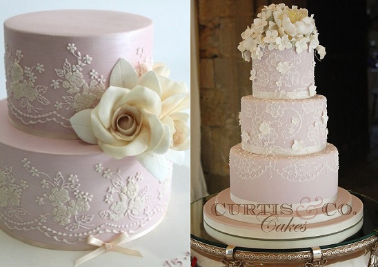 Lace veil wedding cakes via Weddingomania .com left, by Curtis & Co right