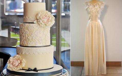Silvia Favero lace sash wedding cake