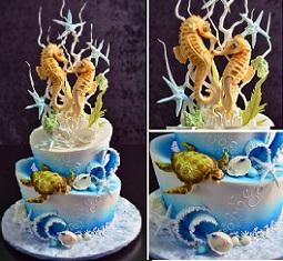 underwater cake with seahorses cake tutorialwith Yener's Way Cake Decorating Tutorials