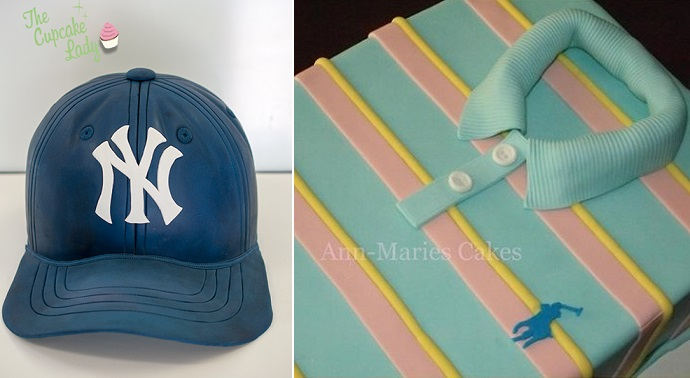 baseball hat cake by Janet O'Sullivan Cakes, polo shirt cake by Ann Marie's Cakes