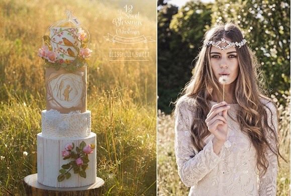 bohemian wedding cake Blissfully Sweet Cakes, boho bride wedding dress right from Bohinda