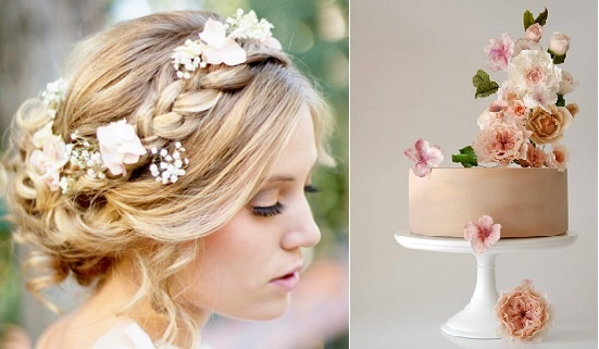 boho bride wedding cake right by The Artful Cake Sydney, boho hairstyle left via ModWedding