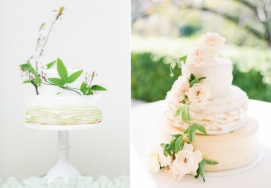 boho bride wedding cakes Amanda Wilcher Photography left, image right Lucy Leonardi