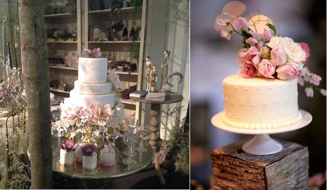boho wedding cakes by Cakes by Krishanthi with Zita Elze accessories left, image right via Pinterest