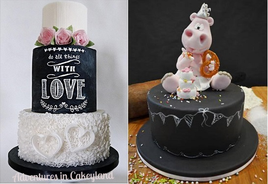 chalkboard cakes by Adventures in Cakeyland using Kara's, Violet Cake Shop and Cake Made tutorials left, Betty's Sugar Dreams plus tutortial for topper