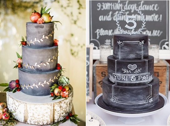 chalkboard cakes by Frost It Cupcakery, Betsi Ewing Studio via Style Me Pretty left, La Cupella right