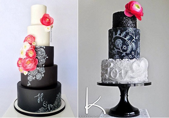 chalkboard cakes by Hey There Cupcake left, Kara's Couture Cakes right