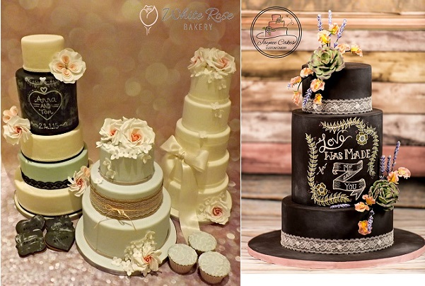 chalkboard wedding cakes by The White Rose Bakery left, Jaynee Cakes Custom Cakery right