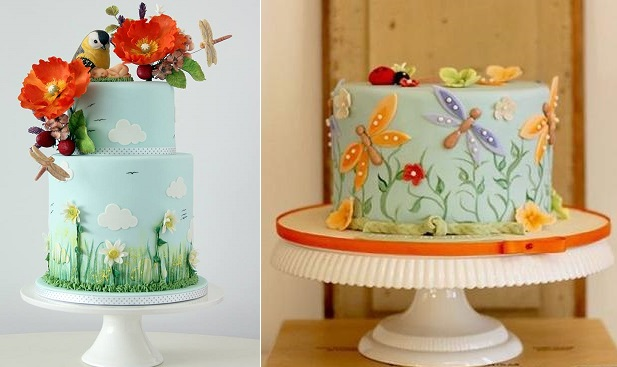 dragonfly cake by Sweet Sugar Boy Ed left, via Pinterest right