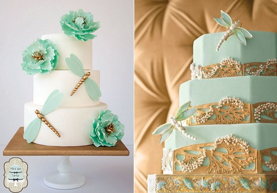 dragonfly wedding cake by Mira Que Tarta left, via Pinterest right